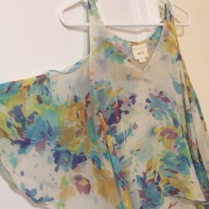 Anthropologie Tops - Anthropologie silk watercolor cold shoulder top
